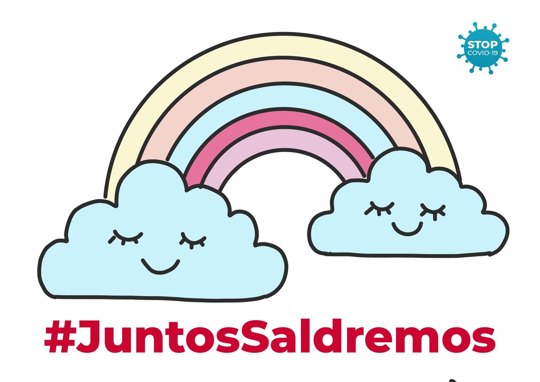 cartel de animo contra el coronavirus con arcoiris y mensaje positivo