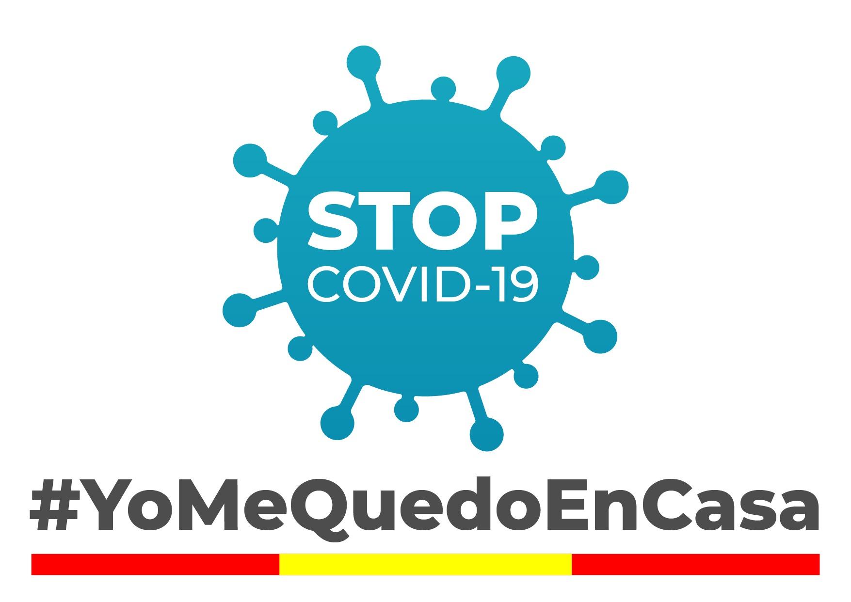 cartel de animo contra el coronavirus STOP covid-19 y mensaje #yomequedoencasa y bandera de España