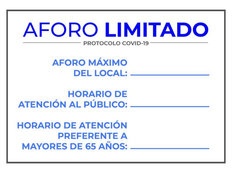 🖨️ Descarga Carteles A4 aforo máximo para comercios protocolo covid-19