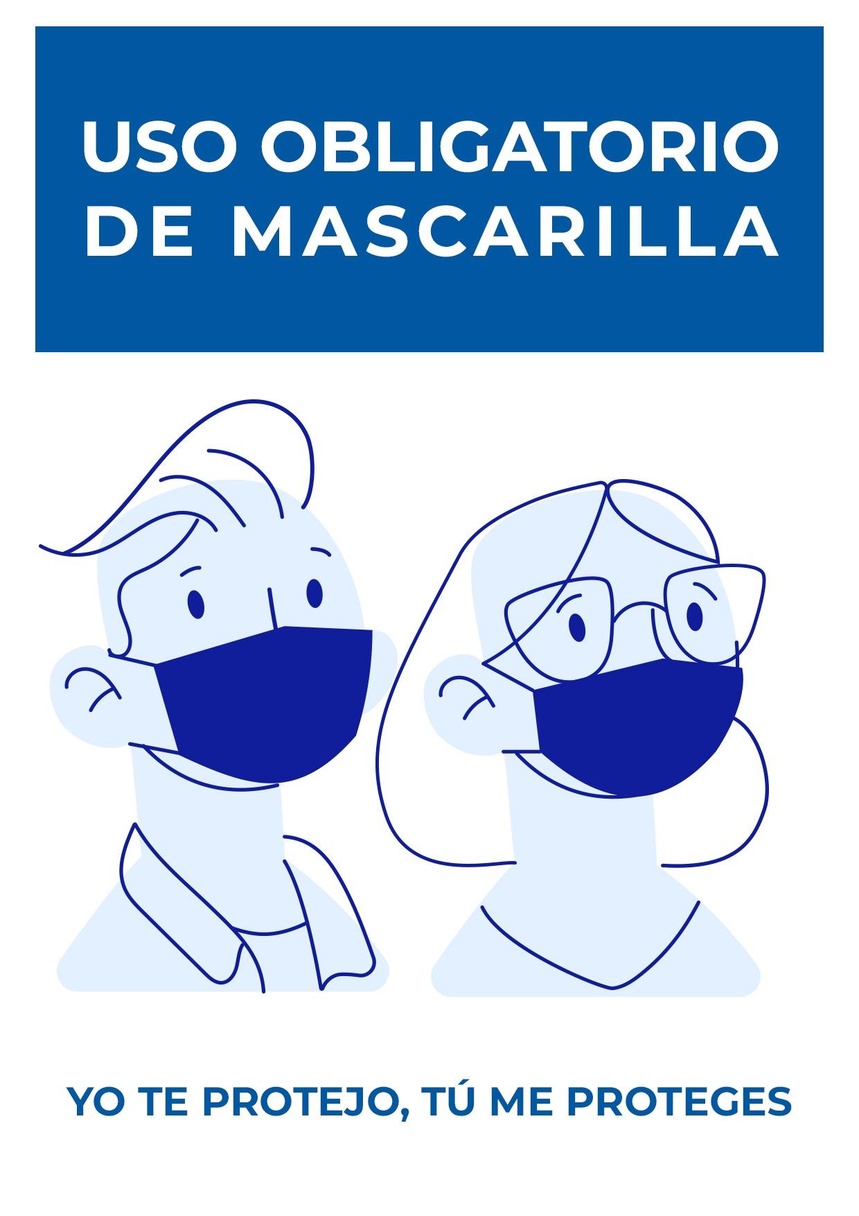 cartel para uso obligatorio de mascarilla