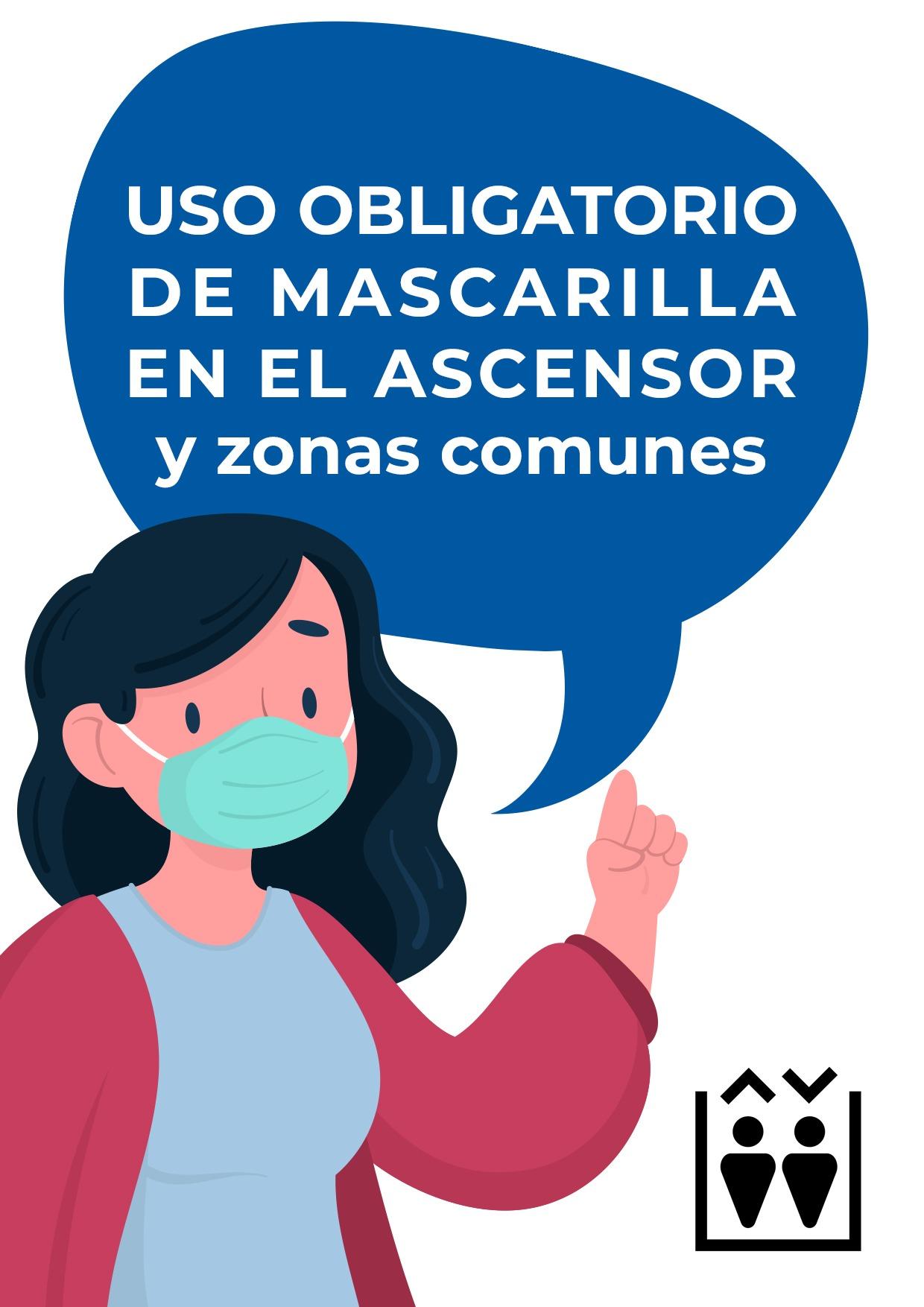 cartel uso obligatorio mascarilla en ascensor para imprimir