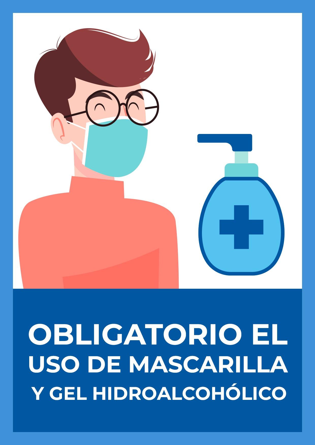 cartel uso obligatorio mascarilla y gel para imprimir 1