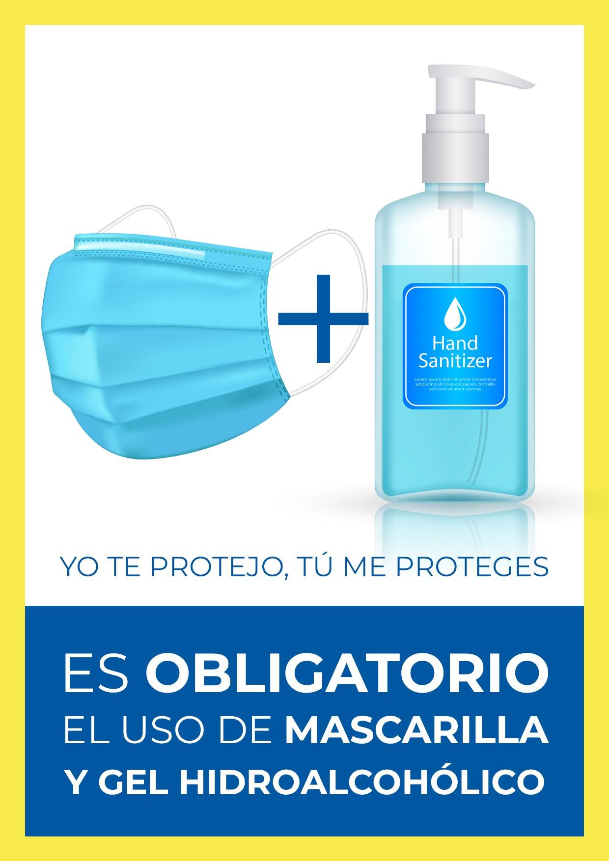 cartel uso obligatorio mascarilla y gel para imprimir 2