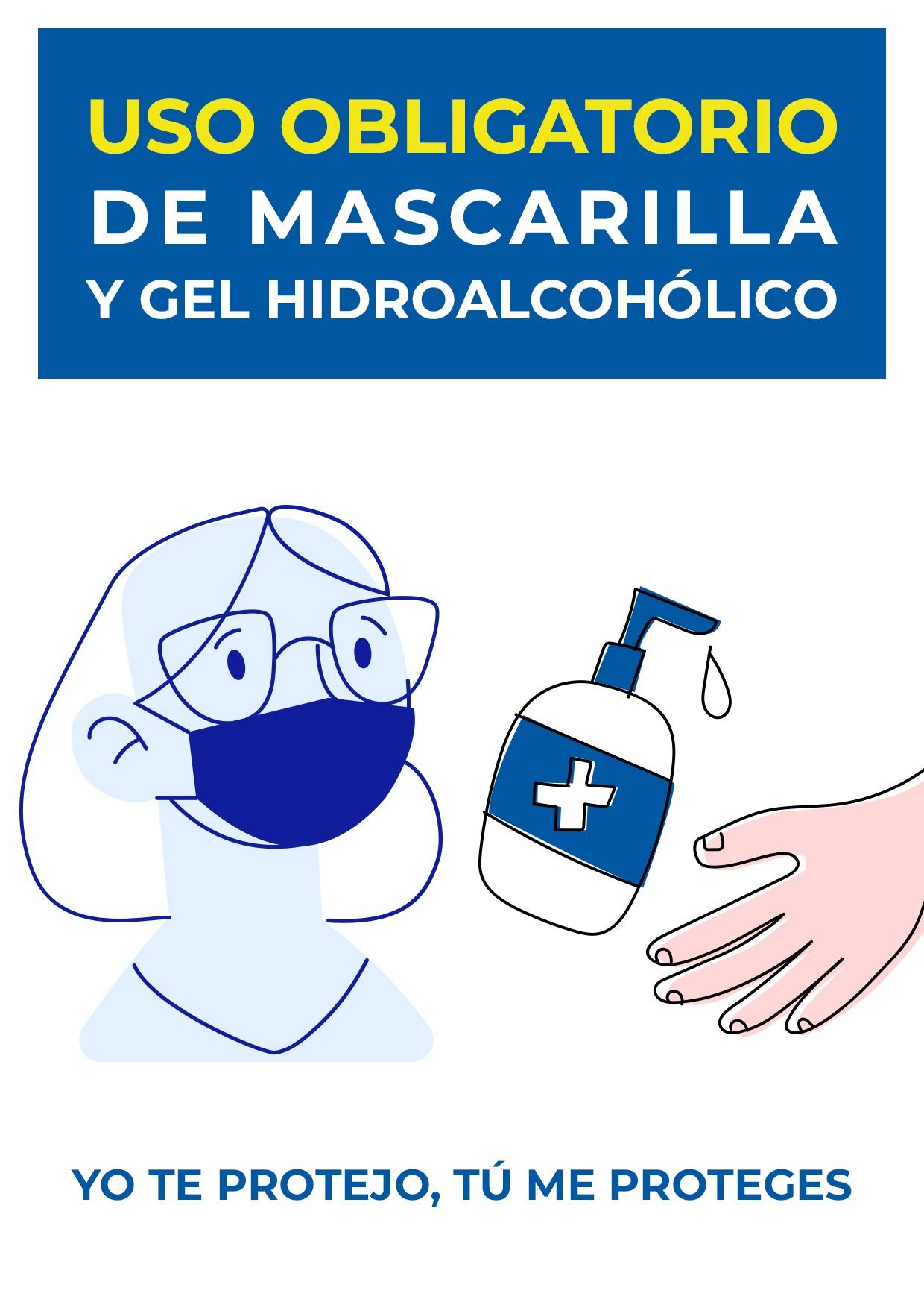 cartel uso obligatorio mascarilla y gel para imprimir 3