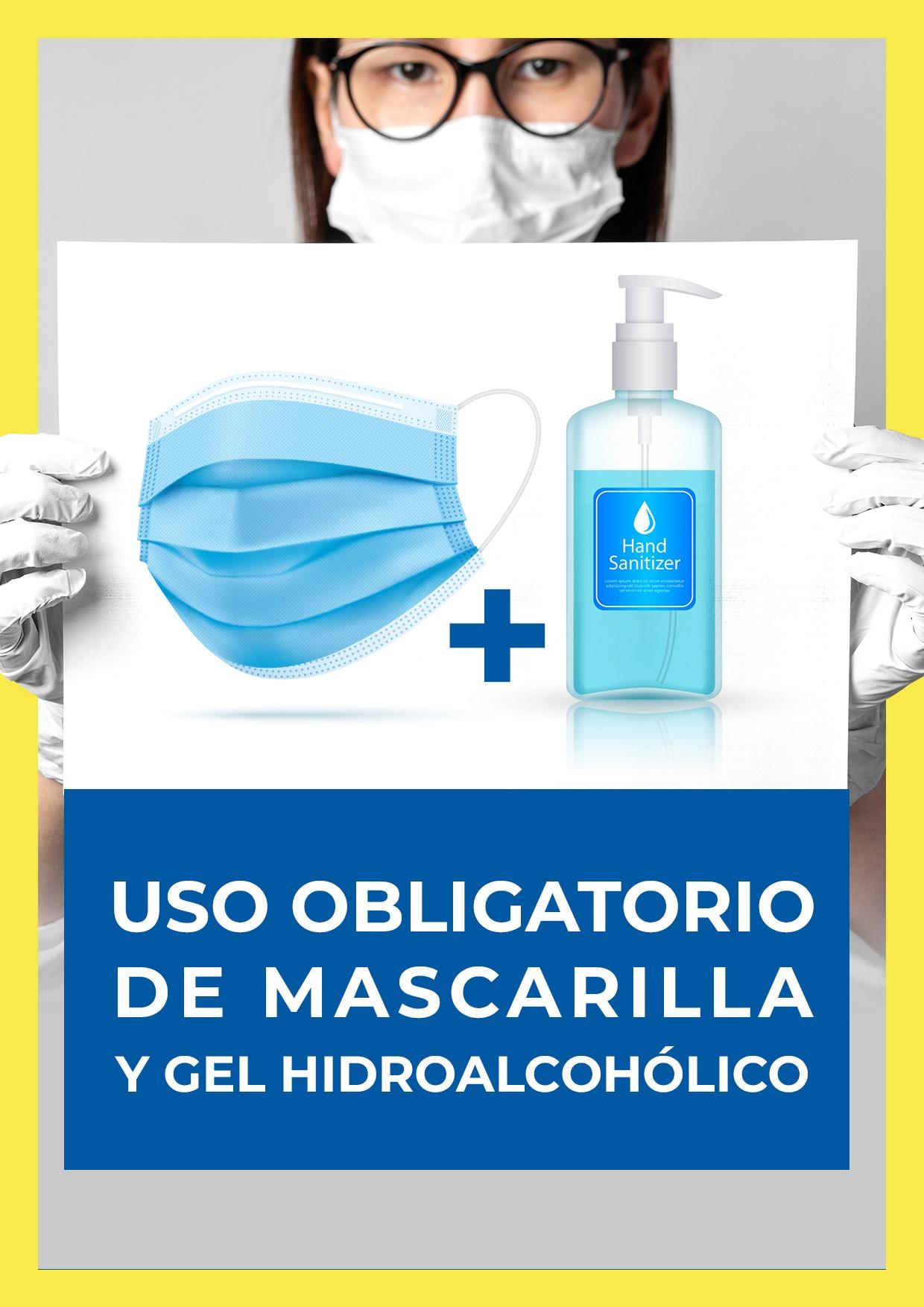 cartel uso obligatorio mascarilla y gel para imprimir 5
