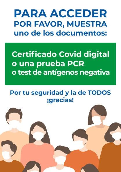 Cartel para exigir certificado Covid o prueba PCR o test de antígenos negativa