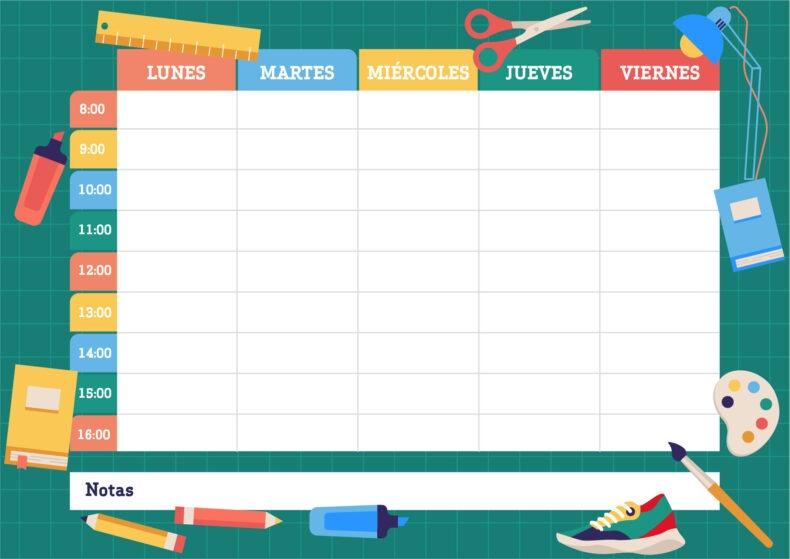 🖨️ 5 plantillas de horario escolar en Word para rellenar e imprimir